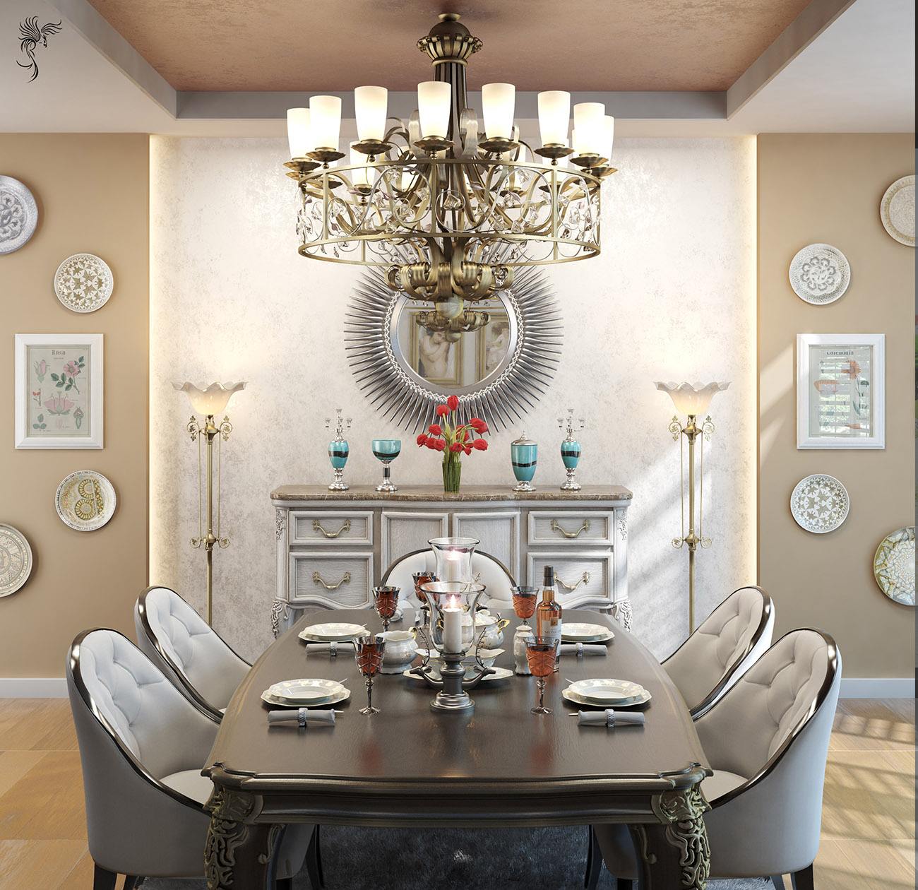 Modern classic dining room by hashemi mohsen arabic for Dining room in arabic